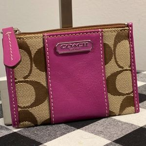 🐎Coach Purple Stripe Keychain Wallet🐎